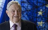 George Soros, Founder and Chairman of the Open Society Foundations as he arrives for a meeting in Brussels, April 27, 2017. (AFP/OLIVIER HOSLET)