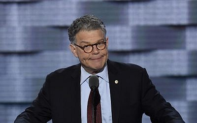 US Senator Al Franken speaking during the Democratic National Convention at the Wells Fargo Center in Philadelphia, Pennsylvania, July 25, 2016. (AFP/SAUL LOEB)