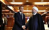 File: France's President Emmanuel Macron, left, meets his Iranian counterpart Hassan Rouhani in New York, September 19, 2017. (AFP Photo/Ludovic Marin)