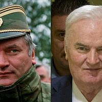 This combination of pictures created on November 22, 2017 shows, left, Ratko Mladic, then Bosnian Serb general looking on in Sarajevo on February 15, 1994, and, right, Mladic smiling as he enters the International Criminal Tribunal for the former Yugoslavia (ICTY), on November 22, 2017, to hear the verdict in his genocide trial. (AFP Photo/AFP Photo and Pool/Pascal Guyot and Peter Dejong)