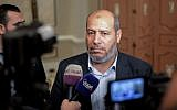Hamas senior political leader Khalil al-Hayya  speaks during a press conference at the end of two days of closed-door talks attended by representatives of 13 leading political parties held in the Egyptian capital Cairo on November 22, 2017 (AFP PHOTO / MOHAMED EL-SHAHED)