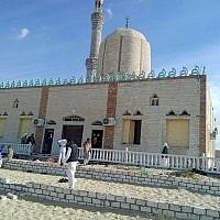The Rawda mosque, roughly 40 kilometers west of el-Arish in Egypt's Sinai, after a gun and bombing terror attack, on November 24, 2017. (AFP/Stringer)