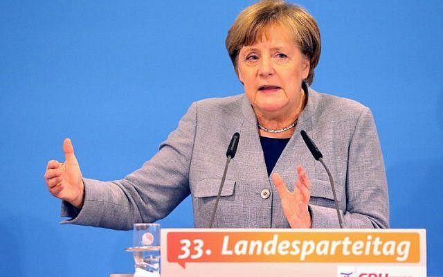 German Chancellor and leader of the Christian Democratic Union (CDU) party, Angela Merkel, gives a talk during a regional party conference in her home state of Mecklenburg Western Pomerania, in her first major speech since the collapse of coalition talks, on November 25, 2017 in Kuehlungsborn, northern Germany. ( AFP PHOTO / dpa / Bernd Wüstneck)