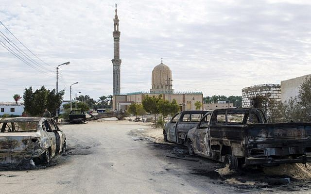 The Rawda mosque, roughly 40 kilometers (nearly 25 miles) west of the North Sinai capital of El-Arish, after a gun and bombing attack, November 25, 2017.(AFP)