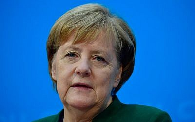 German Chancellor Angela Merkel gives a press conference