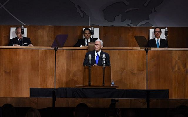 "US Vice-President Mike Pence speaks as he attends the Permanent Mission of Israel to the United Nations event celebrating the 70th anniversary of the UN vote calling for ""the establishment of a Jewish State in the Land of Israel"", at Queens Museum in New York, on November 28, 2017. (AFP/TIMOTHY A. CLARY)"