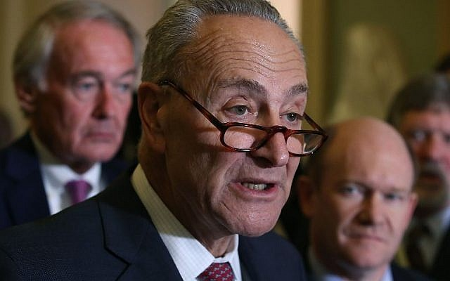 Senate Minority Leader Charles Schumer (D-NY) speaks about the Senate's agenda after attending the Senate Democrat's policy luncheon on Capitol Hill, in Washington, DC, October 31, 2017. (Mark Wilson/Getty Images/AFP)