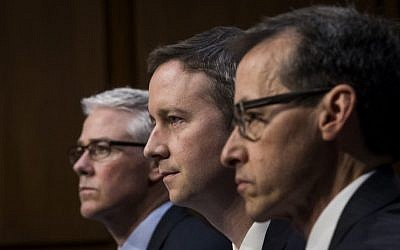 Left, to right, Colin Stretch, general counsel at Facebook, Sean Edgett, acting general counsel at Twitter, and Richard Salgado, director of law enforcement and information security at Google, testify during a Senate Judiciary Subcommittee on Crime and Terrorism hearing titled 'Extremist Content and Russian Disinformation Online' in Washington, DC, Capitol Hill, October 31, 2017. (Drew Angerer/Getty Images)