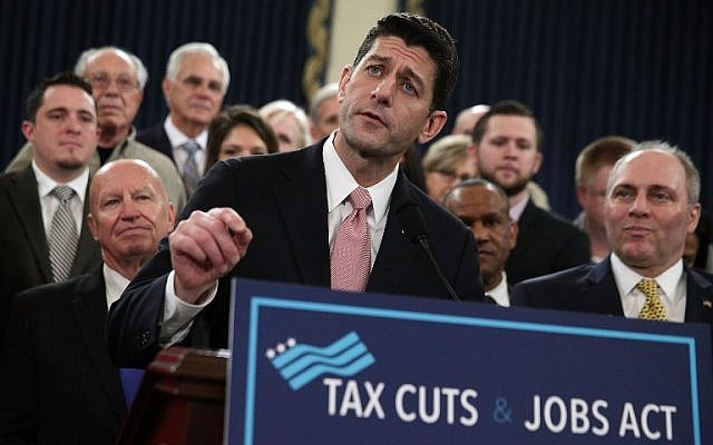 Speaker of the House Rep. Paul Ryan (R-WI), center, speaks during a news conference on the tax reform legislation on Capitol Hill in Washington, DC, November 2, 2017. (Alex Wong/Getty Images/AFP)