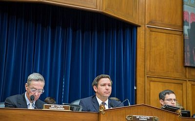 Rep. Ron DeSantis, center, speaks at the National Oversight and Government Reform Committee on moving the US Embassy in Israel to Jerusalem on Capitol Hill on November 8, 2017 in Washington, DC. (Tasos Katopodis/Getty Images/AFP)