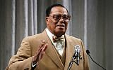 Nation of Islam Minister Louis Farrakhan delivers a speech and talks about US President Donald Trump, at the Watergate Hotel, on November 16, 2017 in Washington, DC. Mark Wilson/Getty Images/AFP)