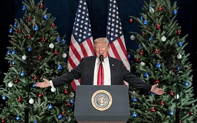 US President Donald Trump speaks during a rally at the St. Charles Convention Center on November 29, 2017 in St. Charles, Missouri. (Whitney Curtis/Getty Images/AFP)