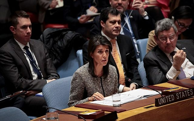 Nikki Haley, US ambassador to the United Nations, speaks during an emergency meeting of the United Nations Security Council concerning North Korea's nuclear ambitions, at the United Nations headquarters, November 29, 2017 in New York City. (Drew Angerer/Getty Images)