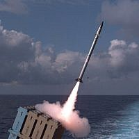 The Israeli Navy tests a ship-based Iron Dome missile defense system, which is declared operational, on November 27, 2017 (Israel Defense Forces)