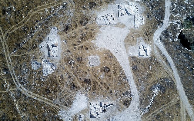 Area of the large structure, possibly a temple or palace, uncovered in the dig situated at the heart of a military training area in the Lachish region. (Dane Christensen)