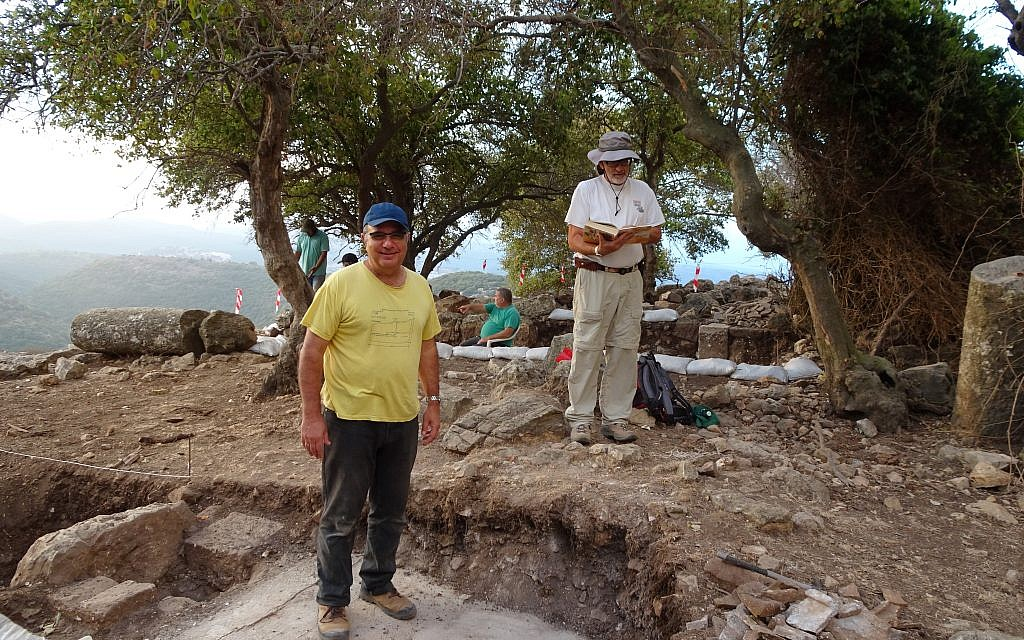 Co-directors of the Galilee early church excavations at their recent dig site, historian Jacob Ashkenazi and archaeologist Mordechai Aviam from the Kinneret Institute for Galilean Archaeology at the Kinneret Academic College (courtesy Mordechai Aviam)