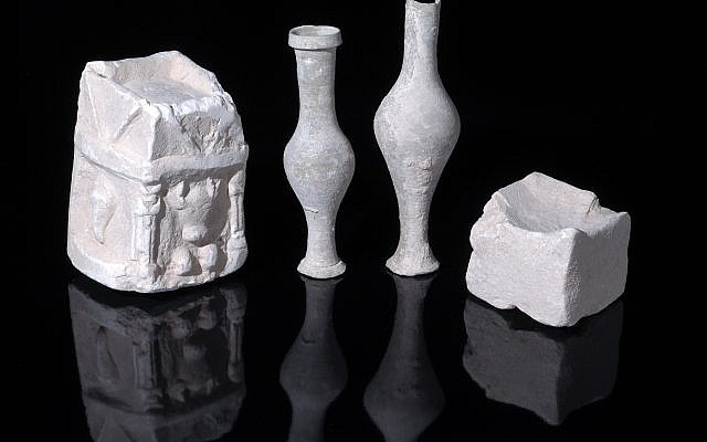 Examples of cultic vessels uncovered in one of the structure's rooms at the heart of a military training area in the Lachish region.  (Clara Amit, Israel Antiquities Authority)