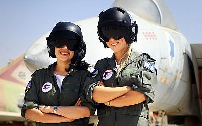Illustrative. Female aviators in the Israeli Air Force pose in front of a fighter jet on December 26, 2012. (Israel Defense Forces/Flickr)