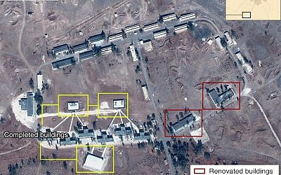Satellite image of alleged Iranian base in Syria from October 2017 (Airbus, Digital Globe and McKenzie Intelligence Services/BBC)