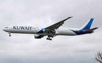 A Kuwait Airways airplane approaching Heathrow Airport in London, England. (Wikimedia Commons via JTA)