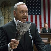This image released by Netflix shows Kevin Spacey in a scene from 'House Of Cards.' (David Giesbrecht/Netflix via AP)