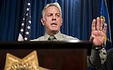 In this 0ct. 9, 2017, file photo, Clark County Sheriff Joe Lombardo discusses the Route 91 Harvest festival mass shooting at the Las Vegas Metropolitan Police Department headquarters in Las Vegas (Erik Verduzco/Las Vegas Review-Journal via AP, file)