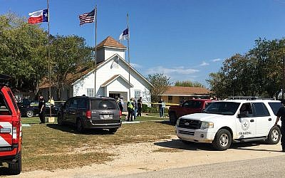 Emergency personnel respond to a fatal shooting at a Baptist church in Sutherland Springs, Texas, November 5, 2017. (KSAT via AP)
