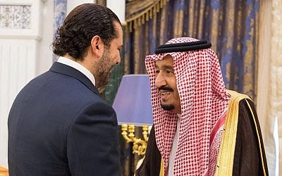 Saudi King Salman, right, meets with outgoing Lebanese Prime Minister Saad Hariri in Riyadh, Saudi Arabia, November 6, 2017. (Saudi Press Agency, via AP)