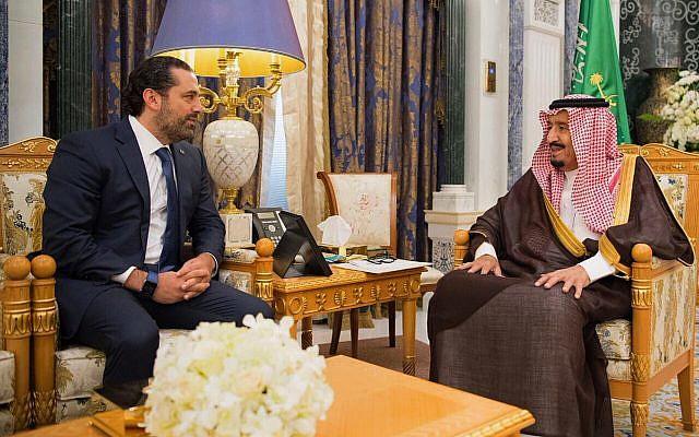 Saudi King Salman, right, meets with outgoing Lebanese Prime Minister Saad Hariri in Riyadh, Saudi Arabia, November 6, 2017. (Saudi Press Agency, via AP)