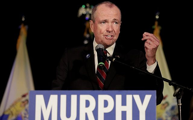 New Jersey Democratic gubernatorial nominee Phil Murphy speaks to supporters during his election night victory party at the Asbury Park Convention Hall, November 7, 2017, in Asbury Park, New Jersey (AP Photo/Julio Cortez)