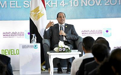 Egyptian President Abdel-Fattah el-Sissi participates in a meeting with a group of young people from around the world in the Red Sea resort of Sharm el-Sheikh, Egypt on November 7, 2017. (MENA via AP)