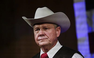 In this September 25, 2017, photo, former Alabama Chief Justice and US Senate candidate Roy Moore speaks at a rally, in Fairhope, Alabama. (AP Photo/Brynn Anderson)