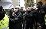 Muslims protest against the closure of a prayer room in the Paris suburb of Clichy la Garenne, November 10, 2017. (AP Photo/Thibault Camus)