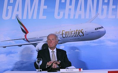 Emirates President Tim Clark speaks to the journalists during a press conference at the opening day of the Dubai Air Show, United Arab Emirates, on November 12, 2017. (AP Photo/Kamran Jebreili)