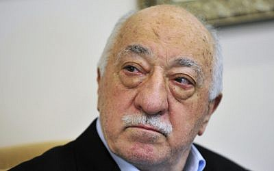 In this July 2016 photo, Islamic cleric Fethullah Gulen speaks to members of the media at his compound, in Saylorsburg, Pennsylvania. (AP Photo/Chris Post)