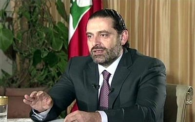 "Lebanon's Prime Minister Saad Hariri gives a live TV interview in Riyadh, Saudi Arabia, November 12, 2017, saying he will return to his country ""within days"". (Future TV via AP)"