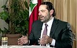 Former Lebanese prime minister Saad Hariri gives his first televised interview on November 12, 2017, eight days after announcing his resignation. (Future TV via AP)