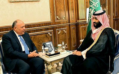 In this Tuesday, Nov. 14, 2017 file photo, released by the Saudi Press Agency, Saudi Crown Prince Mohammed bin Salman meets with Egyptian Foreign Minister Sameh Shoukry in Riyadh, Saudi Arabia (Saudi Press Agency via AP, File)