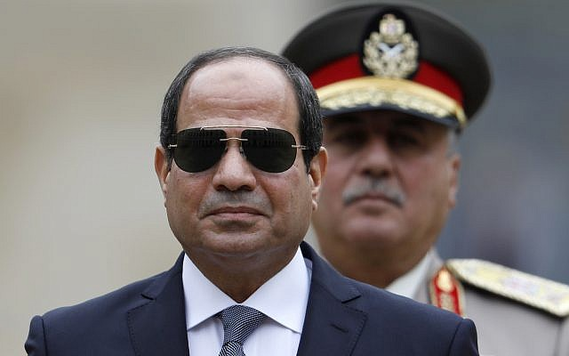 Egyptian President Abdel-Fattah el-Sissi attends a military ceremony in the courtyard at the Hotel des Invalides in Paris, France, October 24, 2017. (Charles Platiau, Pool via AP)