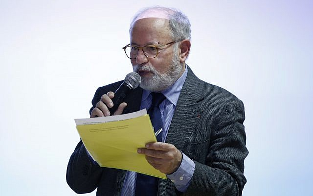 Samuel Sandler, grandfather of Arie and Gabriel Sandler who were gunned down by Mohamed Merah, gives a speech in a Paris middle-school, Wednesday, Nov. 15, 2017. (AP Photo/Thibault Camus)