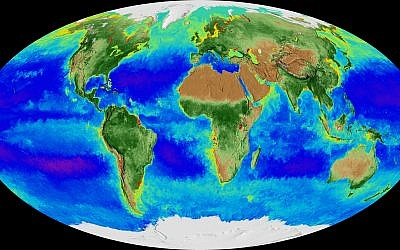 A projection of the Earth and its biosphere derived from two decades of satellite data starting in September 1997 going through September 2017. (NASA via AP)