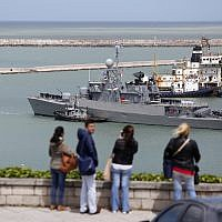 The Comandante Espora Argentine ship sails off a navel base in Mar del Plata, Argentina, on November 18, 2017, part of a search effort to find a submarine that hadn't been heard from in three days. (AP/Vicente Robles)