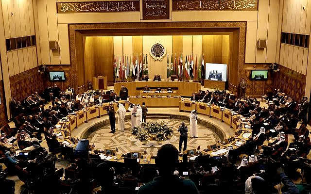 Arab Foreign Ministers meet at the Arab League headquarters in Cairo, Egypt, November 19, 2017. (AP Photo/Nariman El-Mofty)