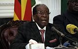 Zimbabwean President Robert Mugabe delivers a speech during a live broadcast at State House in Harare, November 19, 2017. (AP)