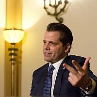Former White House communications director Anthony Scaramucci poses for a photograph after an interview with the Associated Press in Jerusalem, Monday, November 20, 2017. (AP Photo/Ariel Schalit)