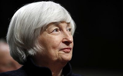 Federal Reserve Chair Janet Yellen listens to introductions as she is awarded the Paul H. Douglas Award for Ethics in Government, on Capitol Hill in Washington, November 7, 2017. (AP Photo/Jacquelyn Martin, File)