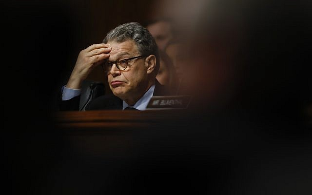 In this May 3, 2017, photo, Senate Judiciary Committee member Sen. Al Franken listens on Capitol Hill in Washington, as FBI Director James Comey testified before the committee on oversight of the FBI. (AP Photo/Carolyn Kaster)