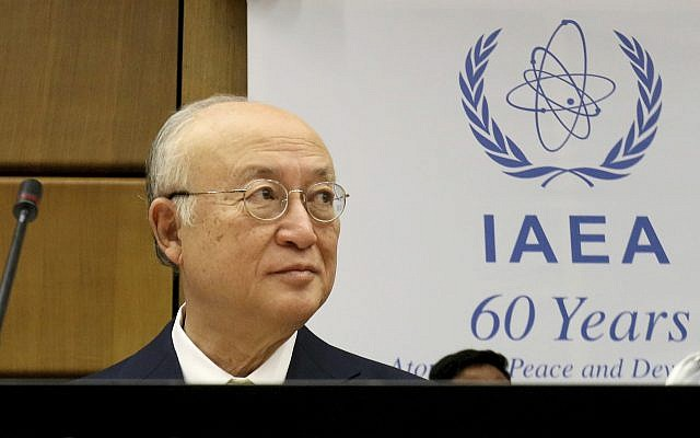 Director General of the International Atomic Energy Agency, IAEA, Yukiya Amano of Japan at the IAEA board of governors meeting at the International Center in Vienna, Austria, November 23, 2017. (AP Photo/Ronald Zak)