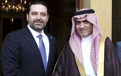 Lebanese Prime Minister Saad Hariri (left) shakes hands with Saudi Minister for Gulf Affairs Thamer al-Sabhan, in Beirut, Lebanon,  October 28, 2016. (Dalati Nohra via AP)