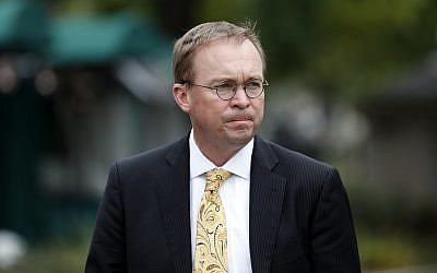 Director of the Office of Management and Budget Mick Mulvaney departs after a television interview at the White House in Washington, September 13, 2017.  (AP/Alex Brandon)